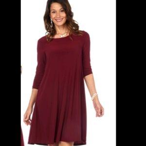 NEW Nina Leonard Burgundy dress